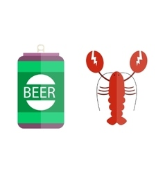 Beer and lobster vector