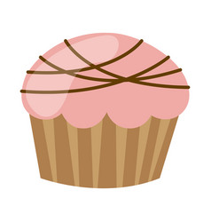 Pink muffin with chocolate icon vector