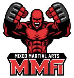 mma fighter mascot vector image