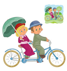 Small children in the period costume riding vector