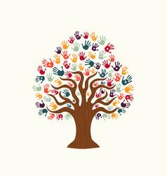 Tree hand of diverse people team help vector