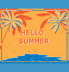Retro poster with palm trees sea and beach vector