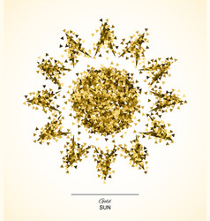 Gold shining sun vector