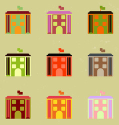 Architecture building and columns with flag set vector