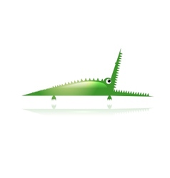 Funny green crocodile for your design vector