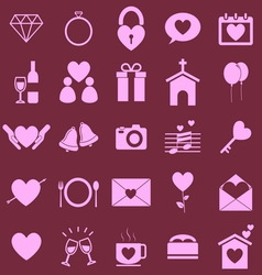 Wedding color icons on pink background vector image