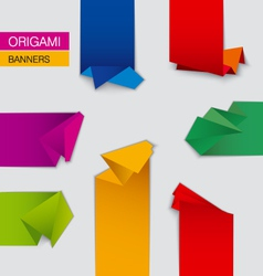 set of origami banners vector image
