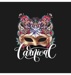 3d gold venetian carnival mask with ornamental vector