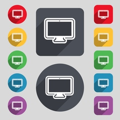 Monitor icon sign a set of 12 colored buttons and vector