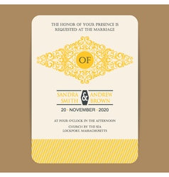 Wedding invitation with yellow element vector