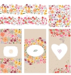Floral summer templates vector image