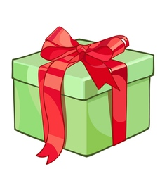 Gift box tied with a red ribbon vector