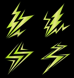 Set of green signs of electricity vector