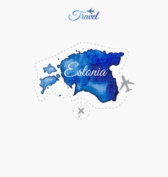 Travel around the world estonia watercolor map vector