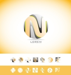 Alphabet letter n sphere logo icon set vector