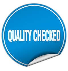 Quality checked round blue sticker isolated on vector