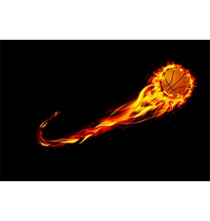 Fire burning basketball with background black vector image
