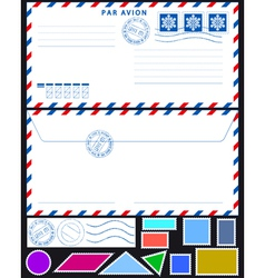 Airmail envelope and stamps set vector image vector image