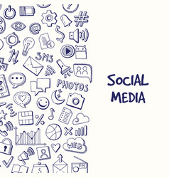 background with social media hand drawn vector image vector image