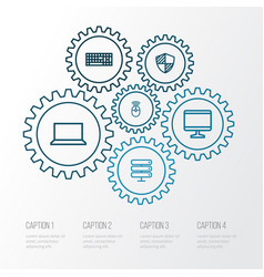computer outline icons set collection of vector image