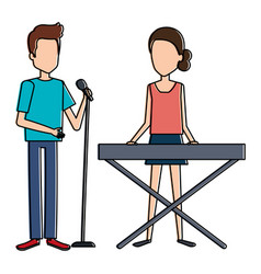 couple singing with microphone and playing vector image