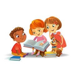 Cute children reading books vector