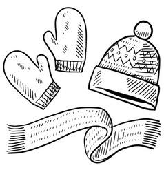 Doodle winter mittens hat scarf vector