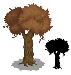 Drying old tree and its black silhouette vector
