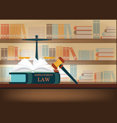 employment law books on a table vector image