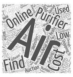 Finding low cost air purifiers word cloud concept vector