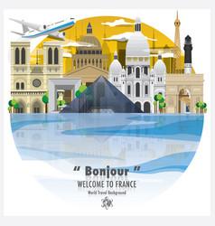 French republic landmark travel and journey vector