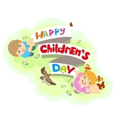 Happy Childrens Day Boy and girl Lettering text vector image vector image
