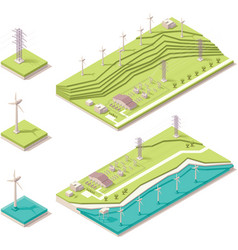 Isometric wind farm vector image vector image