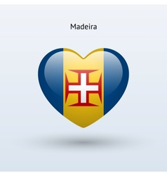 Love madeira symbol heart flag icon vector