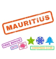 Mauritius rubber stamp vector
