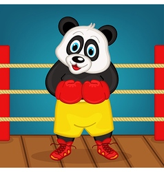 Panda boxer on ring vector