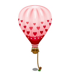Pink balloon with hearts tied to the ground vector