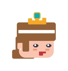 princess girl pixel video game play icon vector image vector image