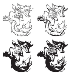Set of a fire fox vector image vector image