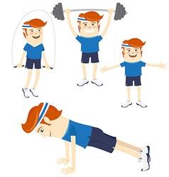 Set of hipster funny sportsmen doing exercises vector