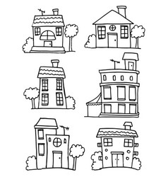Set of house style hand draw vector