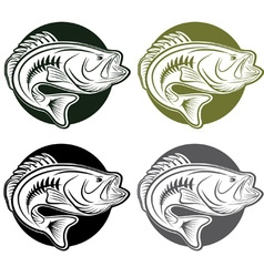 set of labels wit large moutn bass vector image