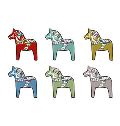 set of traditional swedish horses vector image vector image