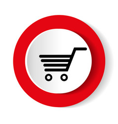 Shopping cart red circle web glossy icon vector