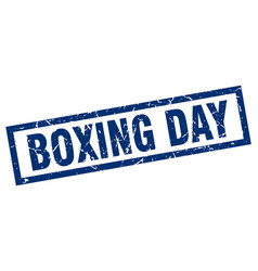 Square grunge blue boxing day stamp vector