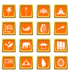 Sri lanka travel icons set orange vector