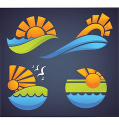 symbols of sea sun and summer vector image