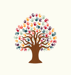 tree hand of diverse people team help vector image