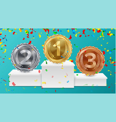 Winner pedestal with gold silver bronze medals vector