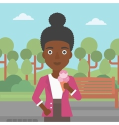 Woman holding icecream vector